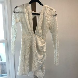 Of white lace formal dress